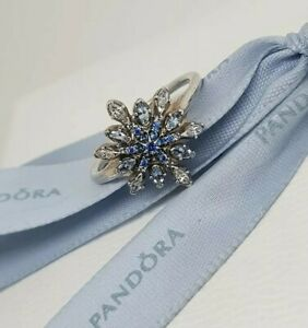 94e7056fa Image is loading Authentic-Pandora-Crystallized-Snowflake-Blue-CZ-Ring- 190969NBLMX-