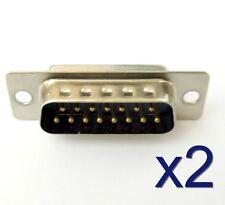 2x Connecteur à souder DB15 15 broches male - 2x DB15 solder connector 15 pins