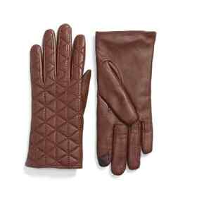 Echo Brown Touch Quilted Leather Tech Gloves Women's Size Medium 70954