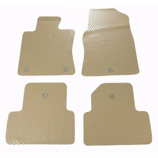 4 Pcs Black Beige All Weather Heavy Duty Rubber Floor Mats