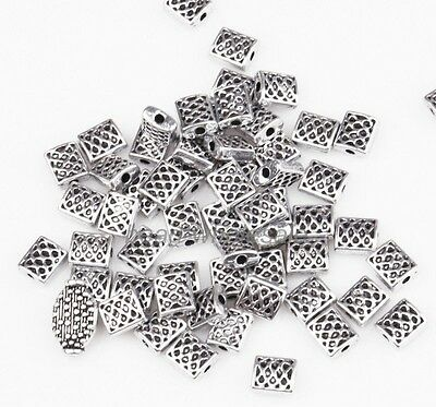 100pcs Antique Silver Zinc Alloy Square Shaped Spacer Beads Charms Finding