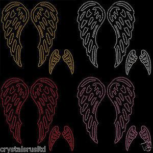 2 x Angel Fairy Wings Iron On Rhinestone Transfer bling Crystal Tshirt applique