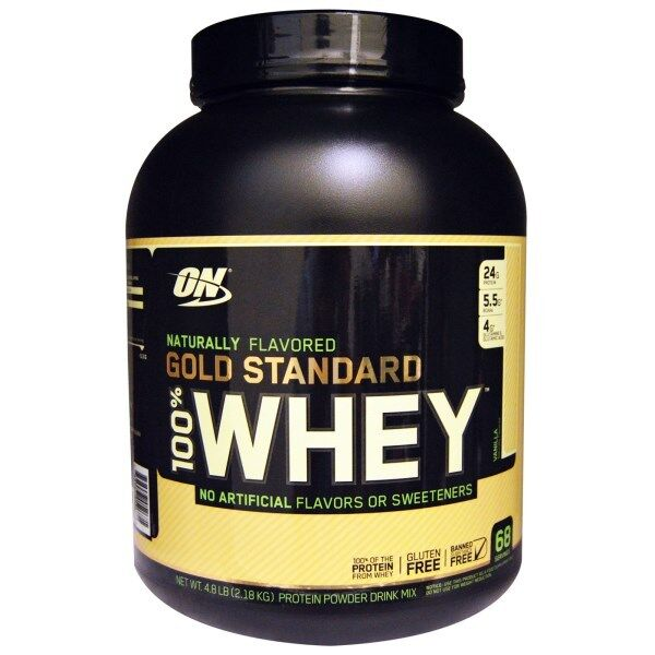 OPTIMUM NUTRITION GOLD STANDARD 100% 100% 100% Whey Protein, Natural Vanilla 4.8 lbs a83ff7