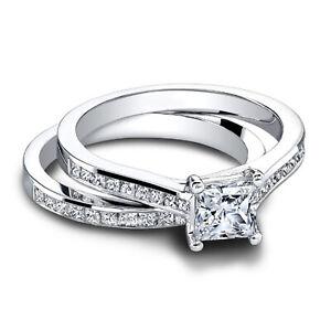 1.10 Ct Princess Moissanite Band Set 14K Real White Gold Proposal Wedding Ring
