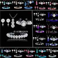 SHAMBALLA 11 Bead Bracelet+8 Bead Watch+3 Bead Pendant Necklace+Stud Earring Set