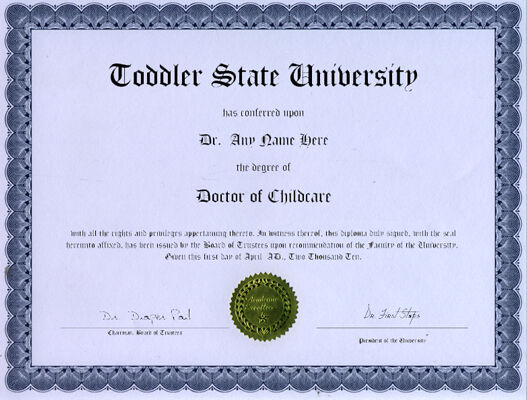 Doctor Childcare Novelty Diploma Day Care Pre School