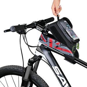 ROCKBROS Black Bicycle Frame Bag 6.0 Inch Touch Screen Waterproof Phone Bag