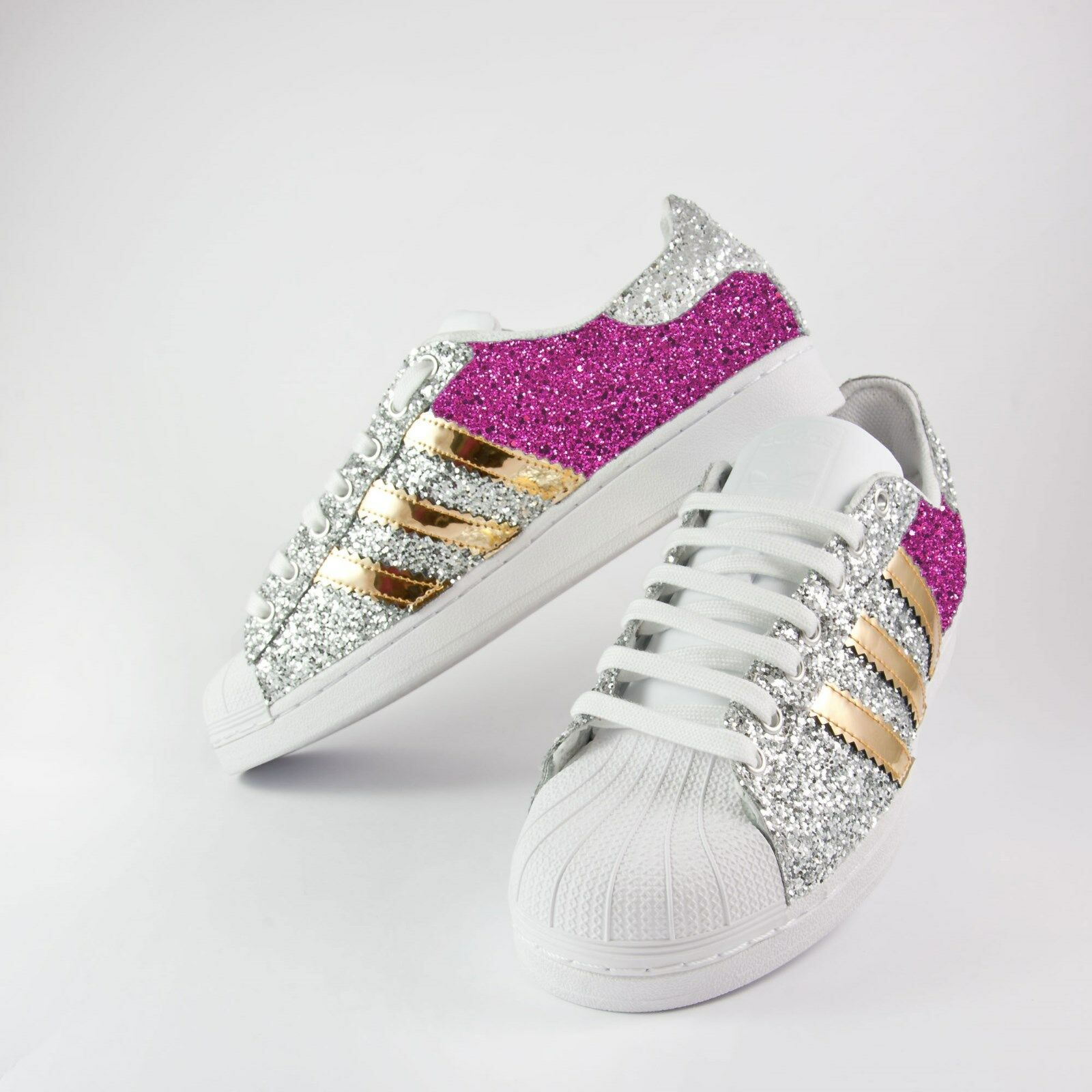 shoes Adidas Superstar with Glitter & Silver Fucxia More on Mirrored gold