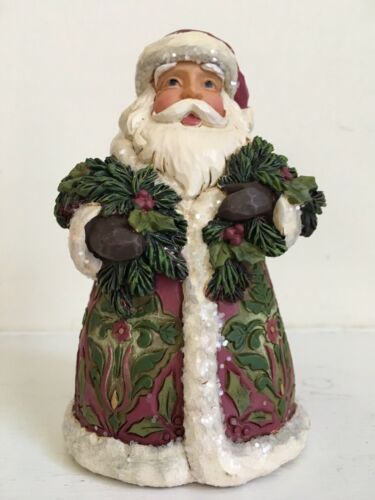 "Jim Shore /""Santa/'s Coming/"" Victorian Santa with Evergreen and Cane Figurine"