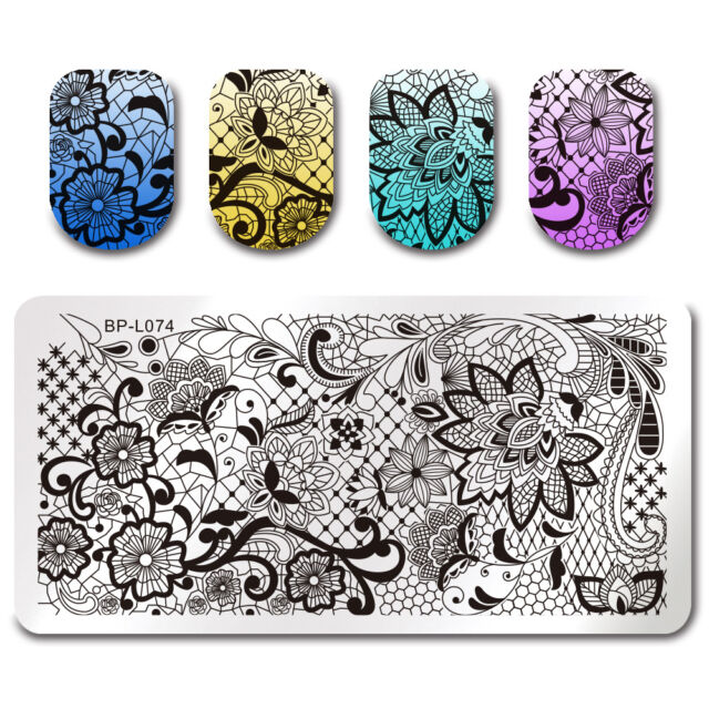 Stamping Template Lace Vine Net Rectangle Nail Art Image Plate DIY BORN PRETTY
