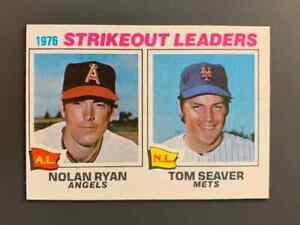 1977 Topps #6 Strikeout Leaders Nolan Ryan / Tom Seaver EXMT-NM
