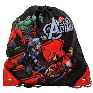Marvel-Avengers-Shoe-Bag-Drawstring-Gym-Dance-Swim-Travel-Boys-Assemble-Black