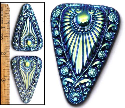 XL 45mm Vintage Czech Glass Egyptian Revival Blue Aurora AB Triangle Buttons 2pc