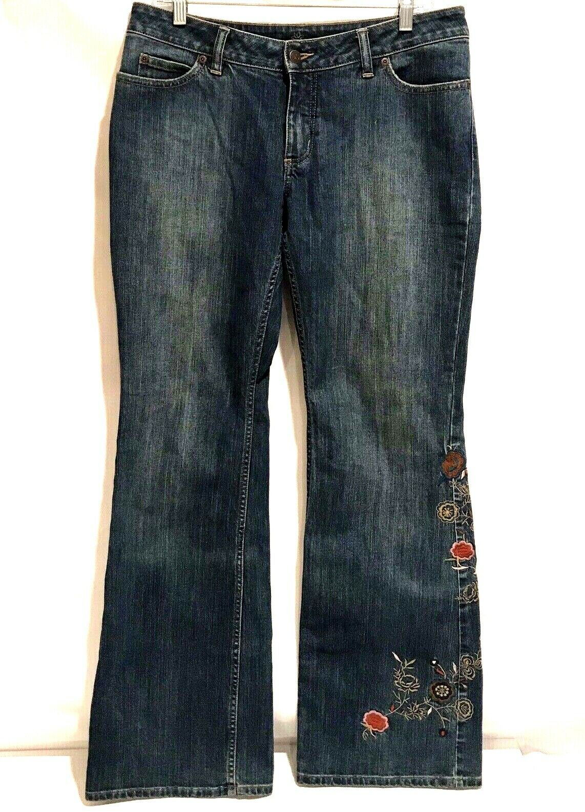 Caslon Denim Embroiderot Floral Flare Jeans 8 32x34 Stretch Boho Medium Low Rise