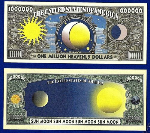 Collectible Space Novelty 5-SUN AND MOON DOLLAR BILLS FAKE-MONEY-L3