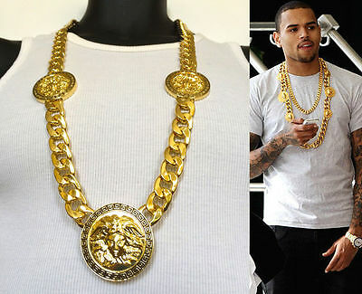 "NEW MENS 3 MEDALLION GOLD RAPPER LINK CHAIN PENDANT 33""NECKLACE"