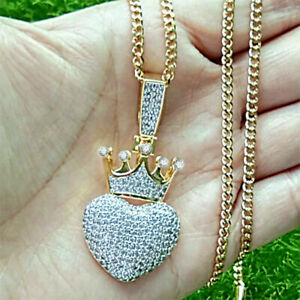 14k-Yellow-Solid-Gold-Over-1-50Ct-Round-Cut-Diamond-Heart-Crown-Men-039-s-Pendant