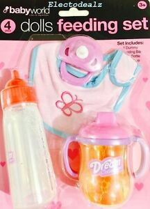 DOLLS BABY FEEDING MAGIC TOY SET DUMMY BOTTLE BIB JUICE SIPPY CUP ...