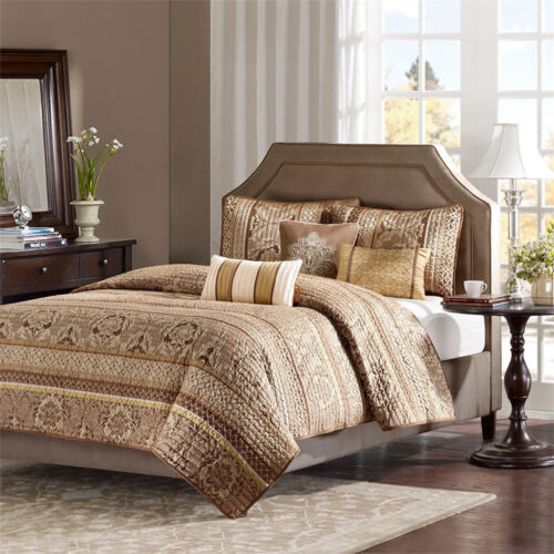 BEAUTIFUL 6 PC EXOTIC ANTIQUE GOLD FLORAL BROWN IVORY QUILT SET QUEEN /& KING SZS