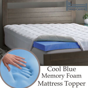 Cool Blue Memory Foam Mattress Topper 4ft 6 Double 137cm X 190cm 2
