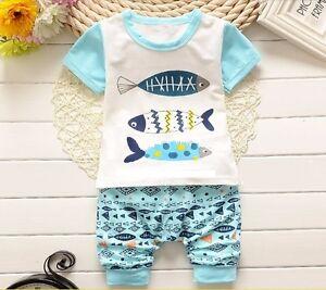 Cartoon Fish Baby Boys Spring, Summer Clothes Set 2 PCS Kids Shorts Top Cotton