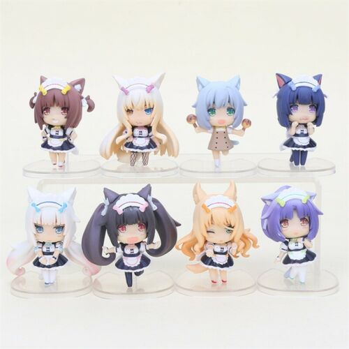8pcs//set Anime Nekopara Chocolat Vanilla Azuki Coconut Maple PVC Figure Toy