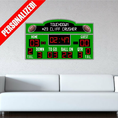 Personalized Scoreboard Football Wall Decal Sticker Removable Wall Art Sports