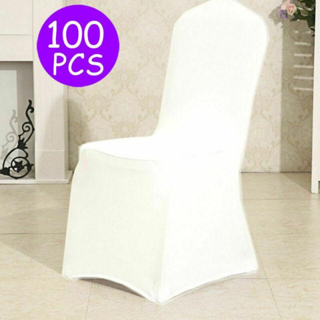 100X Universell Stuhlhussen Stretch Stuhl Husse Stuhlbezug Stuhlüberzug weiß Neu
