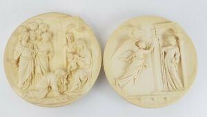 Vtg-Pair-of-2-Plates-1985-Ivory-Alabaster-Signed-A-Santangela