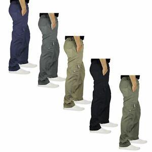 Mens-Elasticated-Waist-Cargo-Combat-Trousers-Lightweight-Multi-Pockets-Pants