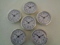 6 Pak, 2-1/2 (65mm) Quartz Clock Fit-up/insert,silver Trim,arabic Numeral,white