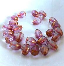 20 pcs Czech Glass Fire Polished Beads purple with bronze luster, drop 13 x10mm