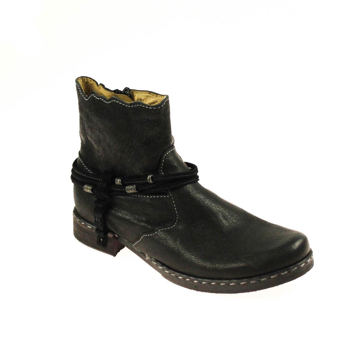 Encanto señora botín semi zapato de cuero negro