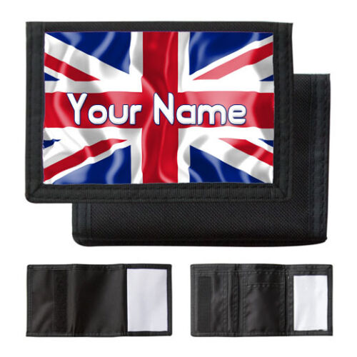 PURSE NAMED GIFT MENS BLACK WALLET UNION JACK PERSONALISED BOYS
