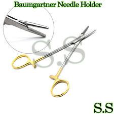 Baumgartner Locking Needle Holder 5 Serrated Gold Handle Surgical Instruments