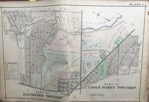 1909 A.H. MUELLER, DELAWARE COUNTY, PA, HAVERFORD, UPPER DARBY, PLAT ATLAS MAP