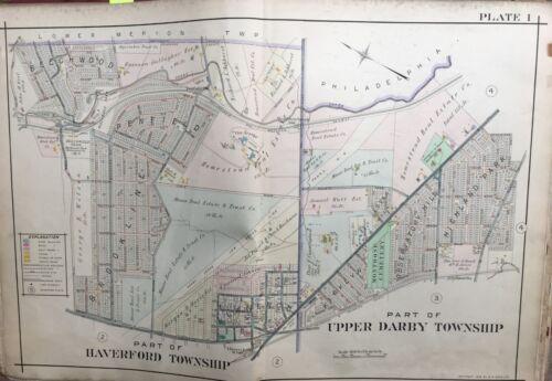 UPPER DARBY 1909 DELAWARE COUNTY PA BEECHWOOD PARK PLAT ATLAS MAP HAVERFORD