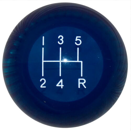 R 5 Speed shift knob M12x1.75 thread U.S MADE Clear Blue Mustang