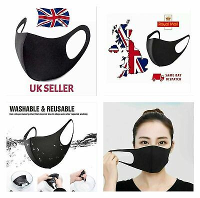 Pack 1//2//5 Face Masks Reusable Washable Breathable Dust Mouth Covering Adult UK