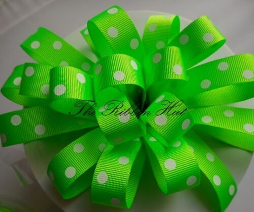 Flo//Neon Spotty Grosgrain Ribbon by Berisfords 4 Colours-1//3//5M Lengths