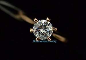 18K-Rose-gold-1-ct-Round-cut-Diamond-6-prongs-Solitaire-Ring-size-Q-FREE-PP