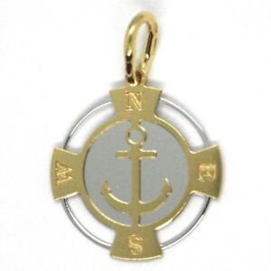 Infatigable Pendentif En Or Jaune Blanc 750 18k, Ancre MariniÈre, Boussole, Made In Italy