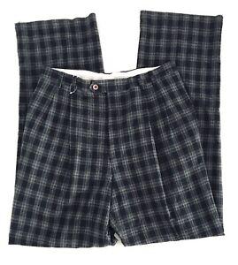Cibreo-Mens-Size-34-Black-Trousers-Wool-Check-Plaid-Pants-Unhemmed