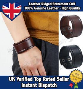 Genuine-Leather-Wide-Ridged-Cuff-Bracelet-Goth-Punk-Rocker-Surf-Unisex-2-colour