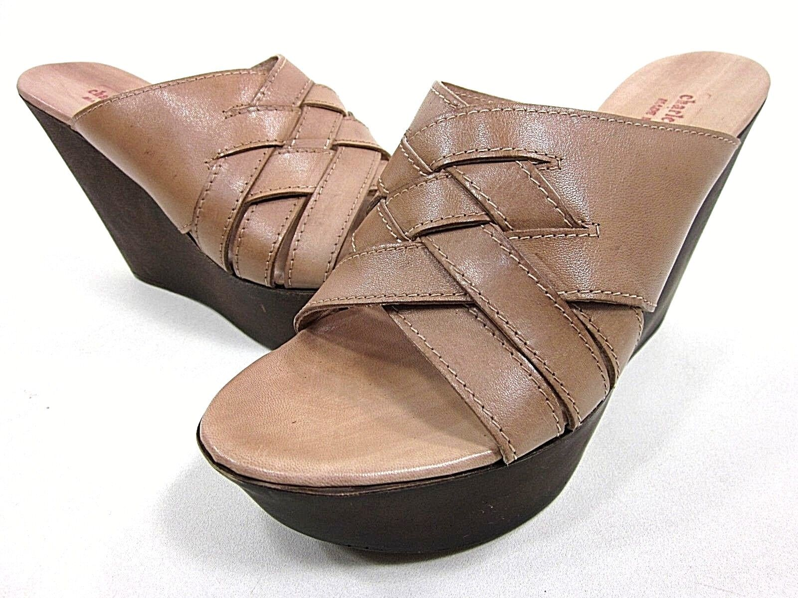 CHARLES DAVID ANGY WEDGE SANDAL donna CAMEL CAMEL CAMEL US Dimensione 8M LEATHER PRE-OWNED e51154