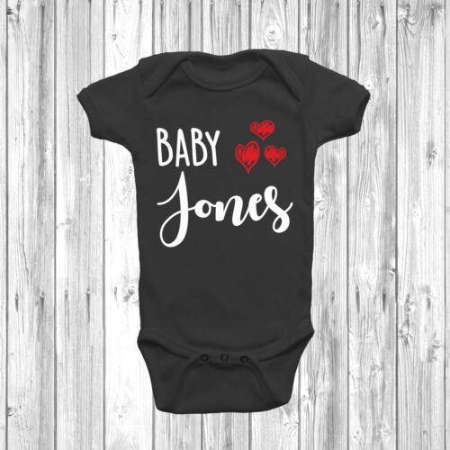 Personalised Baby Surname 3 Hearts Baby Grow Body Suit Vest Cute Custom