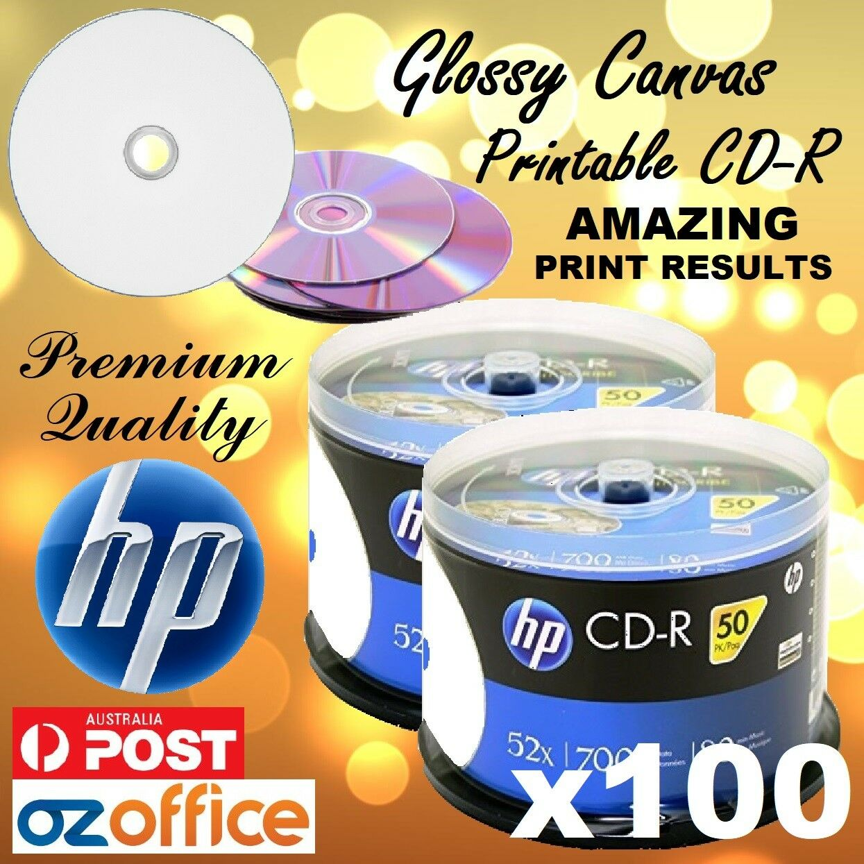 image regarding Hp Printable named Information more than Top quality 100 x HP CD-R Shiny Artwork CANVAS Printable CD Discs 52X 80mins Blank CD R