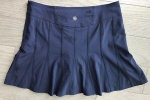 Athleta-Tennis-Skort-Skirt-Zip-Back-Pocket-Workout-Yoga-Size-4-Navy-Blue