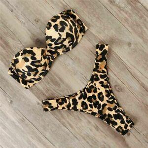 Leopard-Bikini-Damen-Bikini-Set-Zweiteilig-Bandeau-Push-Up-BH-Bademode-Badeanzug
