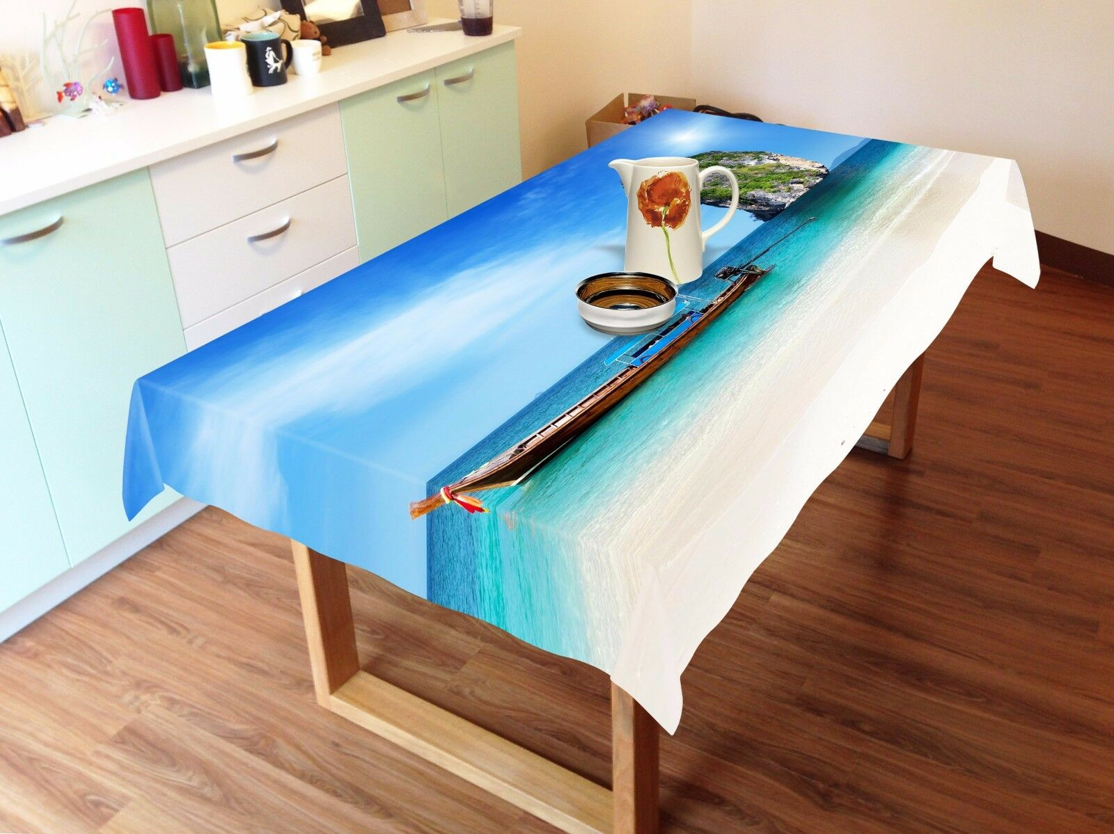 3D Boat sea 86 Tablecloth Table Cover Cloth Birthday Party Event AJ WALLPAPER AU